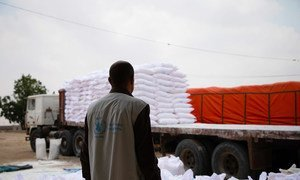 A World Food Programme worker in Khudaish Camp in Yemen looks at a truck being primed to deliver aid in early June 2019.