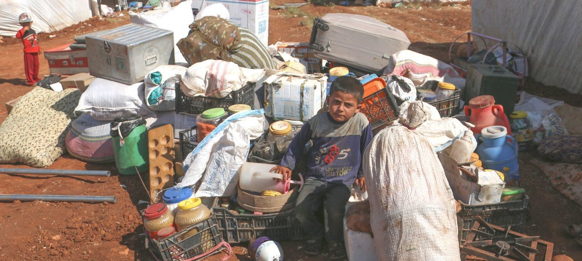 Families take shelter in a makeshift camp, 50 kilometers north of Idlib, in Syria. Since the beginning of September 2018, thousands of people have been displaced, following an escalation of hostilities in the country's north-west.