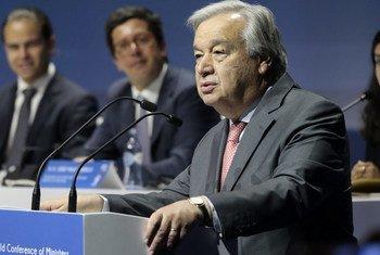 El Secretario General de las Naciones Unidas, António Guterres, en la Conferencia Mundial de Ministros encargados de la Juventud 2019 y el Foro de la Juventud Lisboa+21, en Lisboa, Portugal