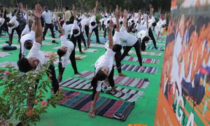 योग कार्यक्रम शुरू होते ही लोगों की गतिविधियों में एक ताल और लय नज़र आए
