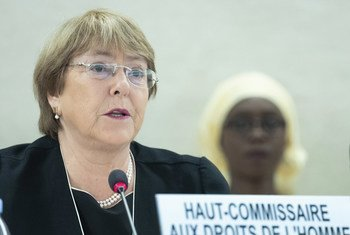 The United Nations High Commissioner for Human Rights, Michelle Bachelet, addresses the 41st Session of the Human Rights Council in Geneva on 24 June 2019.
