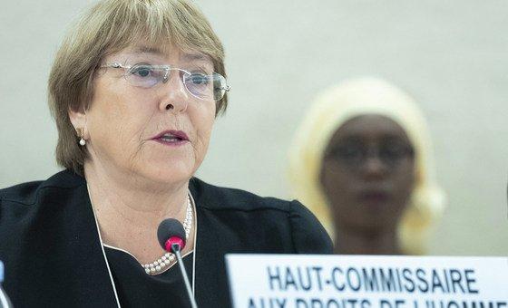 La Alta Comisionada de las Naciones Unidas para los Derechos Humanos, Michelle Bachelet, se dirige a la 41ª Sesión del Consejo de Derechos Humanos en Ginebra el 24 de junio de 2019.