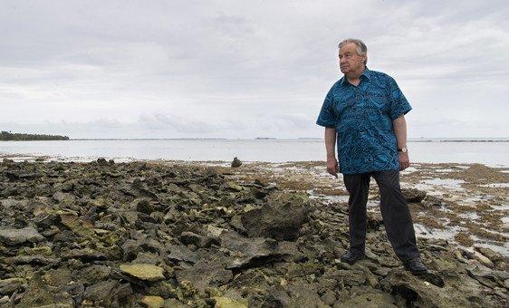 Secretário-geral na ilha de Tuvalu, no Pacífico