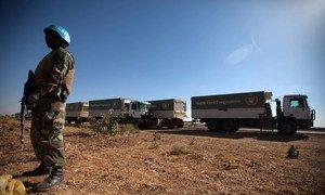 UNAMID escorts World Food Programme (WFP) trucks to Shangil Tobaya, North Darfur.