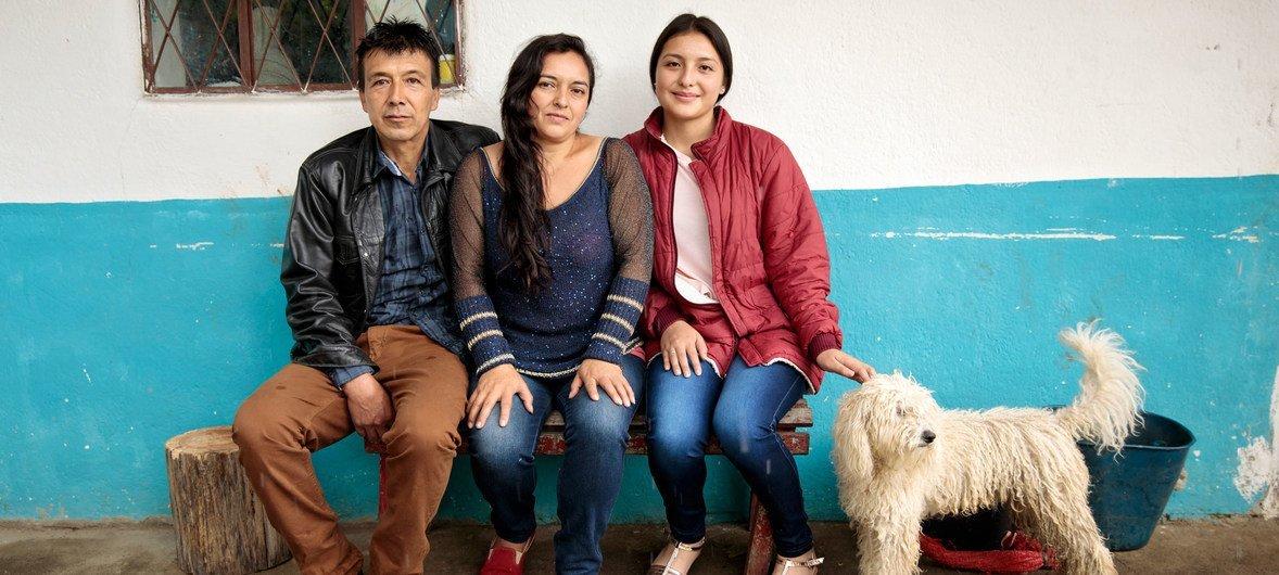 哥伦比亚西部纳里尼奥省的希埃洛一家。