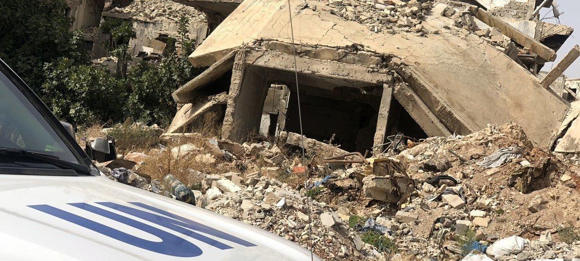 Un vehículo de la ONU durante su misión en Siria.