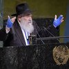 Rabbi Yisroel Goldstein speaks on Combating Anti-Semitism and Other Forms of Racism and Hate, at UN Headquarters, June 2019. His California congregation was targeted by an anti-Semitic gunman in April, killing one and injuring three, including the Rabbi.