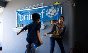 A boy plays in a UNICEF-supported shelter in Tijuana, Mexico, where migrant children from Mexico and Central America are provided psychosocial support. (June 2019)