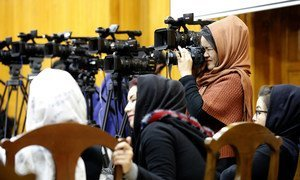 Journalists at an event in Kabul, to mark the Afghan National Journalists Day (March 2019), in support of media freedom and solidarity with journalists. Reporters have frequently been targeted during the Afghan conflict.