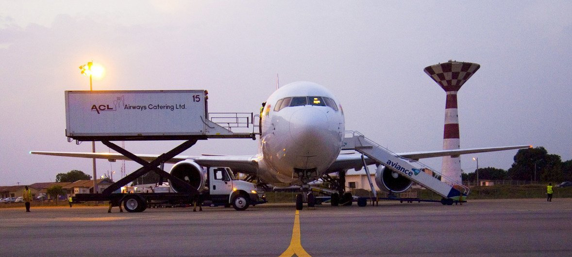 An aircraft being serviced at an airport in Ghana.