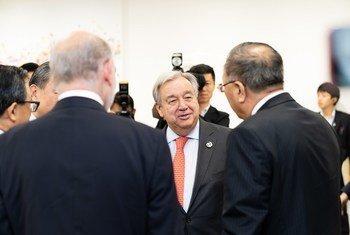 2019日本大阪20国集团峰会气候变化三边会议场景。