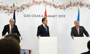Secretary-General António Guterres at a Climate Change Trilateral Meeting with Jean-Yves Le Drian, Foreign Minister of France and Wang Yi, Foreign Minister of China, 29 June 2019.