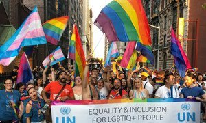 UN-GLOBE marches in the 2019 World Pride parade in celebration of lesbian, gay, bisexual, transgender, questioning/queer and intersex (LGBTQI) people everywhere.