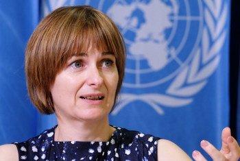 Catherine Saget,from the International Labour Organization, speaking in Geneva.