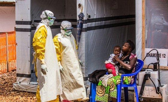 Zona de tratamento do ebola na província do Kivu Norte, na República Democrática do Congo.