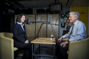 UNHCR Spokesperson and Communications Head, Melissa Fleming (l) interviews Fabrizio Hochschild, UN Assistant Secretary-General for Strategic Coordination, for the Awake at Night podcast