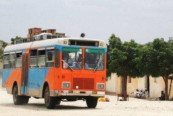 A bus drives into Ghezghiza Village, Anseba Region of Eritrea (File).
