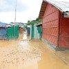 雨后的考克斯巴扎难民营变成一片泥泞,有些地区完全被淹没。