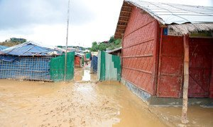 Refugee camps in Cox's Bazar turned to mud after the rains, with some areas completely flooded.