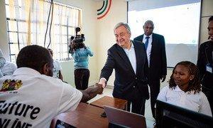 Secretary-General António Guterres visits an ICT Training Centre in Kamakunji, Kenya. (9 July 2019)