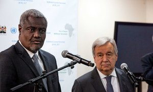 UN Secretary-General António Guterres (right) and Chairperson of the African Union Commission Moussa Faki Mahamat speak at a joint press stakeout in 2019.