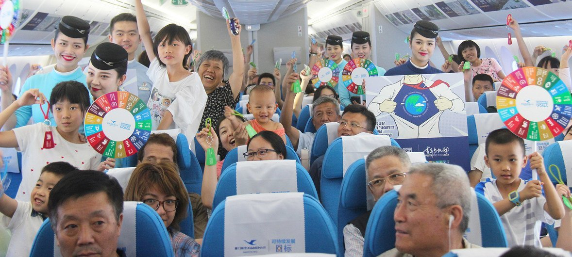 First Theme flight on United Dream in August 2018- Youth and the Earth. Through cabin decorations and theme activities, we called for more people to support in Sustainable Development.