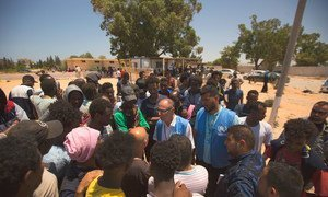 UNHCR Chief of Mission for Libya, Jean-Paul Cavalieri, takes statements from officials, refugees and migrants after arriving at Tajoura detention centre. (3 July 2019)