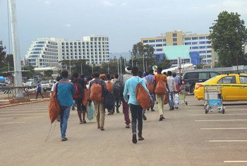 After being stranded in Yemen, a group of Ethiopian migrants return to Addis Ababa with the support of the International Organization for Migration. (July 2019)