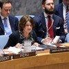 روزماري ديكارلو، وكيلة الأمين العام للشؤون السياسية وبناء السلام، تطلع مجلس الأمن على الوضع في أوكرانيا. (16 تموز/يوليو 2019).