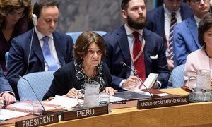 Rosemary DiCarlo, Under-Secretary-General for Political and Peacebuilding Affairs, briefs the Security Council on the situation in Ukraine. (16 July 2019).