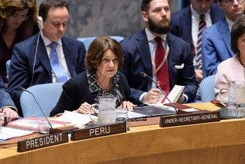 联合国负责政治与建设和平事务的副秘书长迪卡洛今天在安理会就乌克兰问题进行通报。