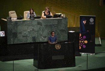 Bi. Banice Mbuki Mburu, mwakilishi kutoka jumuiko la asasi za kiraia za Afrika kuhusu Idadi ya watu na maendeleo akihutubia wakati wa maadhimisho ya miaka 25 ya ICPD kwenye makao makuu ya UN, New York, Marekani. (16 Julai 2019)