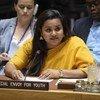 सुरक्षा परिषद को संबोधित करतीं युवा मामलों पर संयुक्त राष्ट्र महासचिव की विशेष दूत जयाथमा विक्रमानायके.