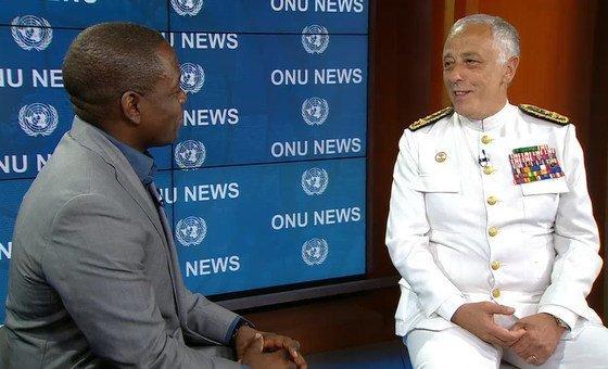 O chefe do Estado-Maior-General dasForças Armadas portuguesas, almirante António Silva Ribeiro, durante entrevista para a ONU News.