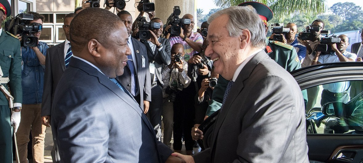 Secretary-General António Guterres meeting with H.E. Mr. Filipe Nyusi, President of Mozambique at the Office of the President in Maputo.