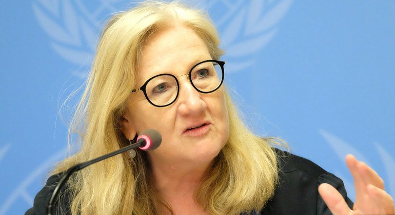 Dr. Margaret Harris, from the World Health Organization, speaks to the media at the United Nations in Geneva. (19 July 2019)