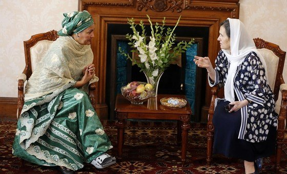 United Nations Deputy Secretary General Amina J. Mohammed, (left) meeting Afghanistan's First Lady Rula Ghani in Kabul. (20th July 2019)