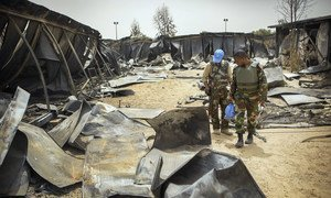 Scene from the camp of the United Nations Multidimensional Integrated Stabilization Mission in Mali (MINUSMA) in Timbuktu. The camp sustained an attack on 3 May 2017, which caused the death of a Liberian peacekeeper and injured others. (16 May 2017)