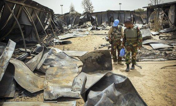 Campo da Minusma em Timbuktu após ataque em 2017.