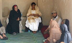 Deputy Secretary-General Amina Mohammed (left) and Phumzile Mlambo-Ngcuka (right), Executive Director of UN Women, visit a camp for internally displaced people (IDPs) in Kabul, Afghanistan. (21 July 2019)