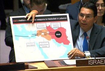 السفير الإسرائيلي داني دانون يلقي بكلمته أمام مجلس الأمن