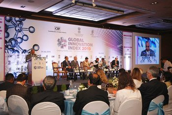Speakers at a panel discussion at the Launch of the Global Innovation Index 2019, hosted by the Government of India in New Delhi. (24 July 2019)