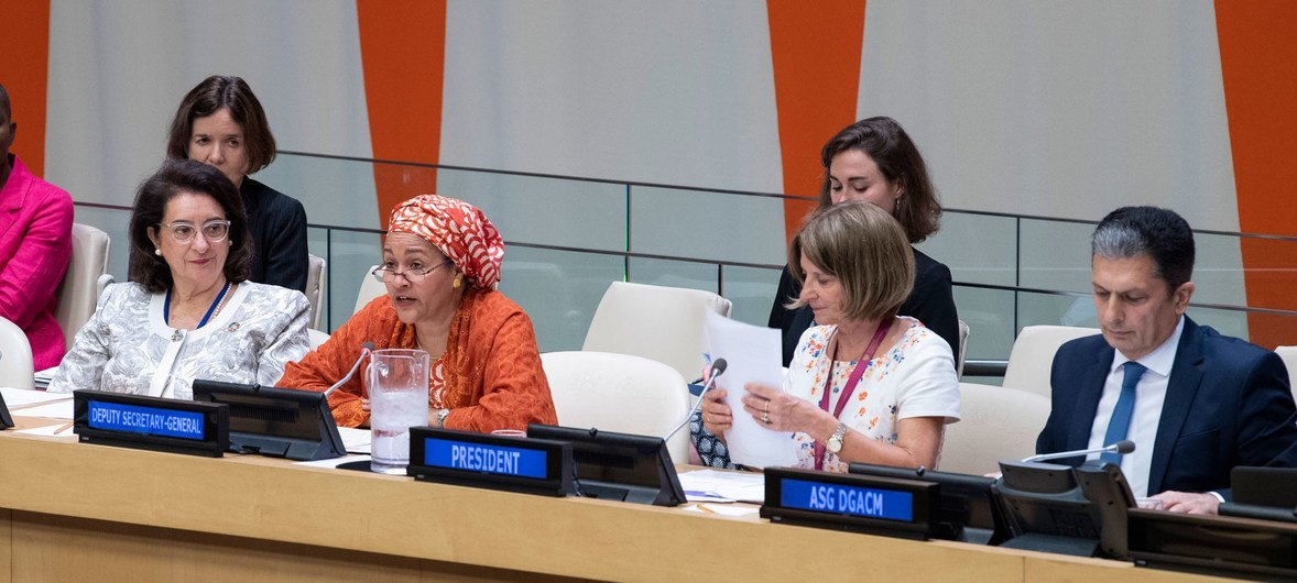 Deputy Secretary-General Amina Mohammed (second from left) addressing the opening of the 2020 session of the Economic and Social Council (ECOSOC). During the meeting, Mona Juul (second from right), Permanent Representative of Norway to the UN, was elected