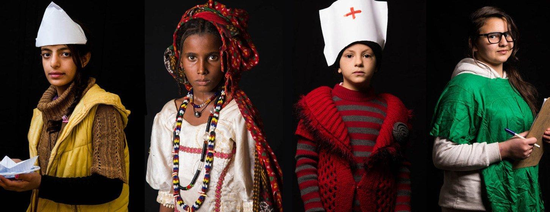 """联合国总部今天举行题为""""有一天我要...""""的图片展,描绘人道主义危机中少女的希望与梦想。"""