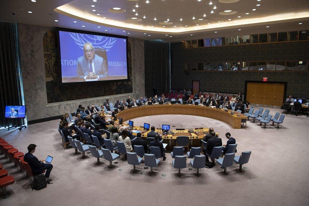 Le Représentant spécial du Secrétaire général pour la Libye, Ghassan Salamé, devant le Conseil de sécurité (photo d'archives).