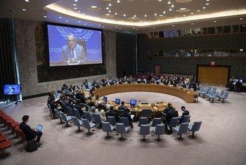 लीबिया में यूएन मिशन प्रमुख घसन सलामे सुरक्षा परिषद को संबोधित करते हुए.