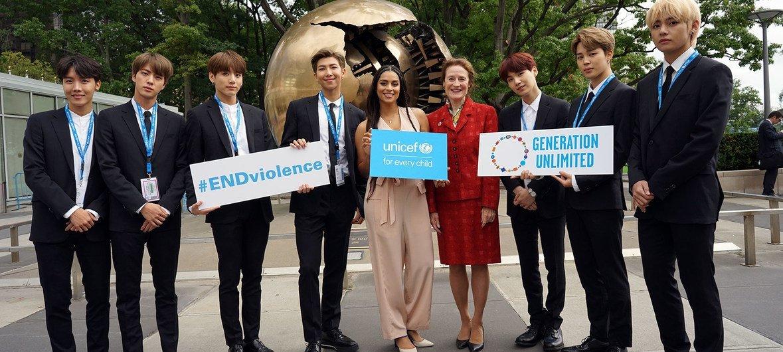 من الأرشيف: فرقة BTS الكورية زارت الأمم المتحدة في نيويورك لإطلاق حملة اليونيسف حول قبول الذات واحترامها.