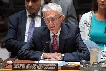 联合国负责人道事务的副秘书长洛科克在安理会有关叙利亚问题的情况通报会上发言。