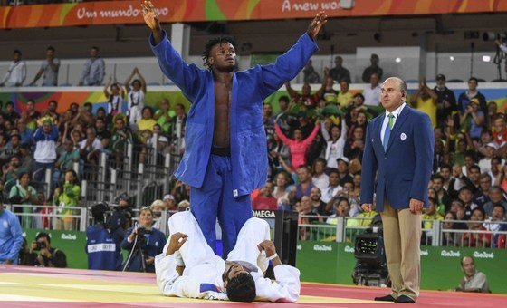 O judoca congolês, Popole Misenga, na Rio 2016.