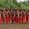 Des membres de la communauté Wajãpi, peuple autochtone du nord du Brésil, à Amapá